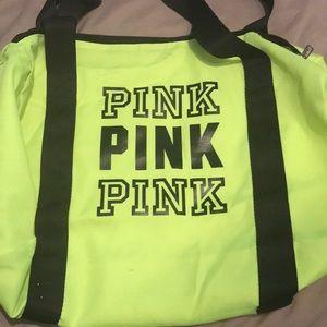 Neon yellow PINK duffle bag!